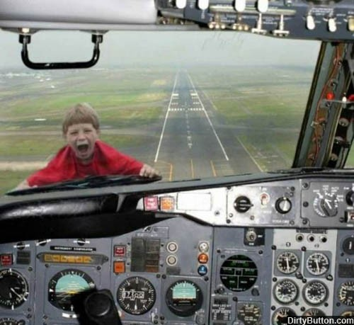 db267 Kid takes airplane ride